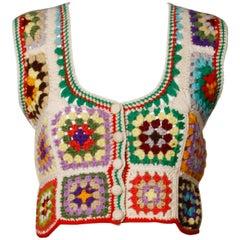 1970s Adolfo Neiman Marcus Vintage Wool Granny Squares Crochet Vest/ Sweater Top