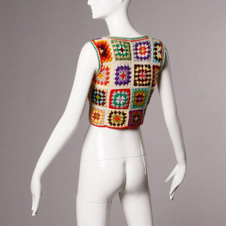 Beige 1970s Adolfo Neiman Marcus Vintage Wool Granny Squares Crochet Vest/ Sweater Top For Sale