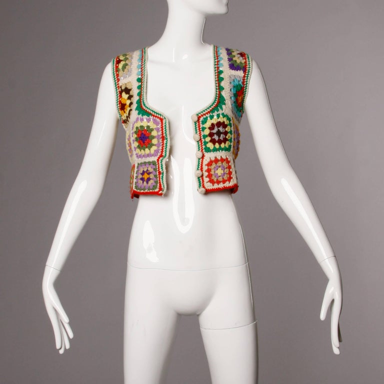 Women's 1970s Adolfo Neiman Marcus Vintage Wool Granny Squares Crochet Vest/ Sweater Top For Sale