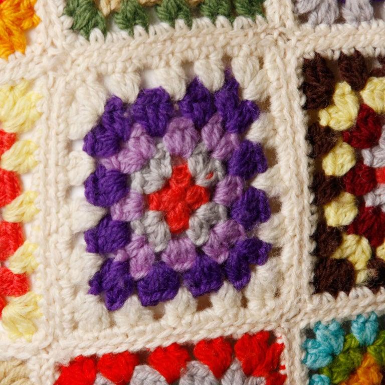 1970s Adolfo Neiman Marcus Vintage Wool Granny Squares Crochet Vest/ Sweater Top For Sale 2