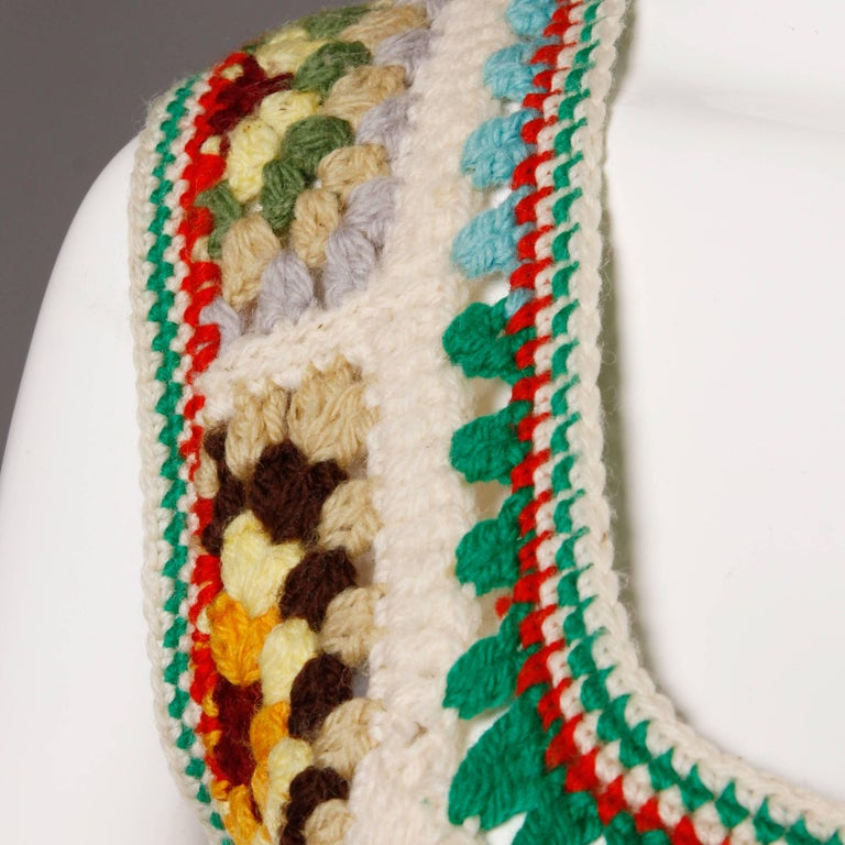 1970s Adolfo Neiman Marcus Vintage Wool Granny Squares Crochet Vest/ Sweater Top For Sale 3