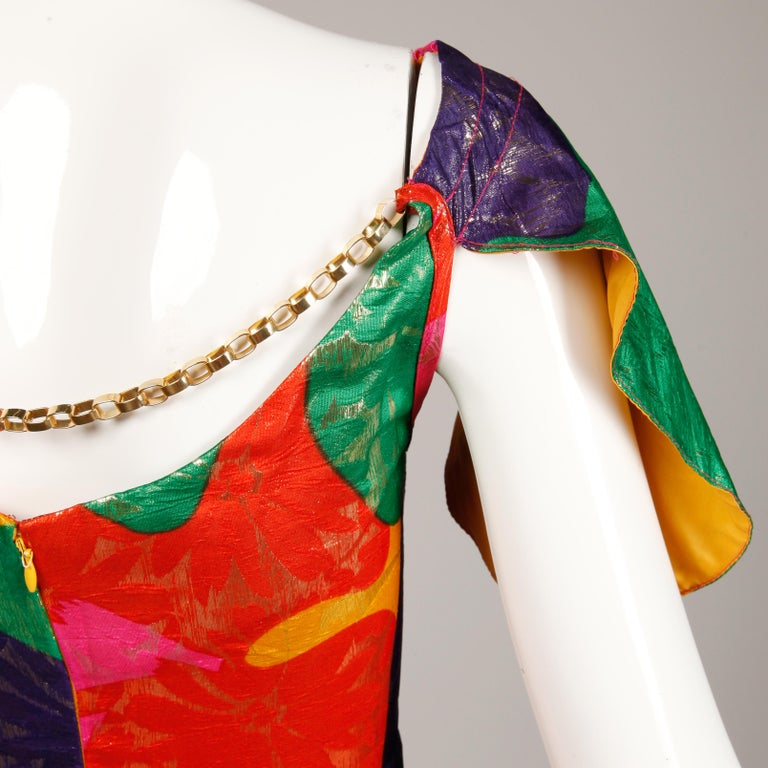 Arnold Scaasi Vintage Colorful Metallic Lamé Silk Evening Gown Dress, 1970s  For Sale 1