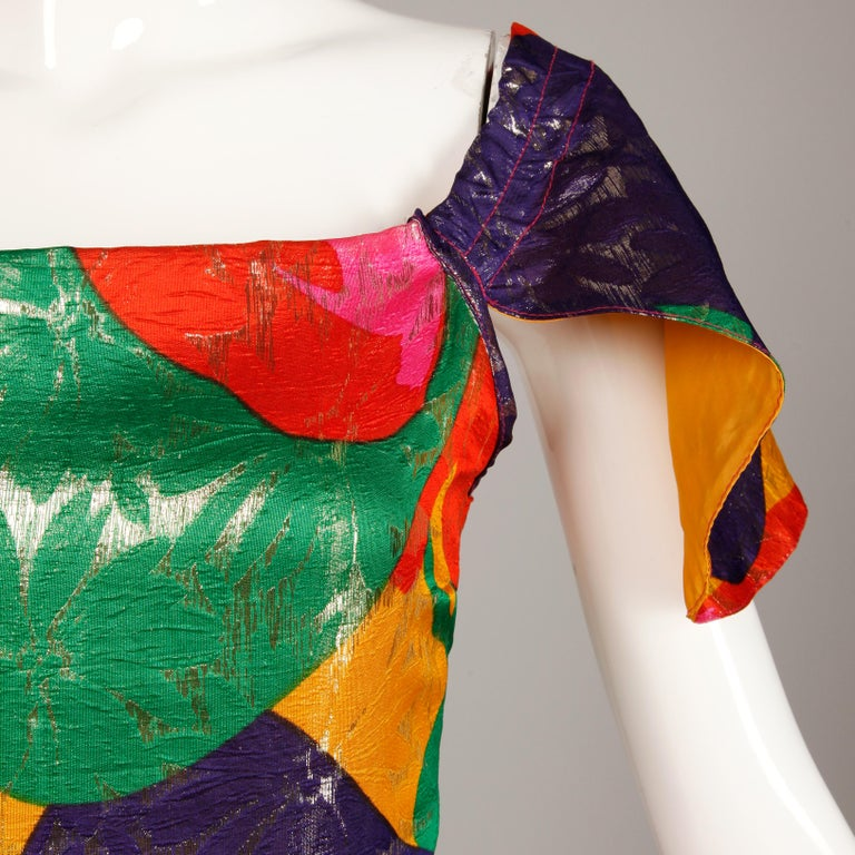 Arnold Scaasi Vintage Colorful Metallic Lamé Silk Evening Gown Dress, 1970s  For Sale 2