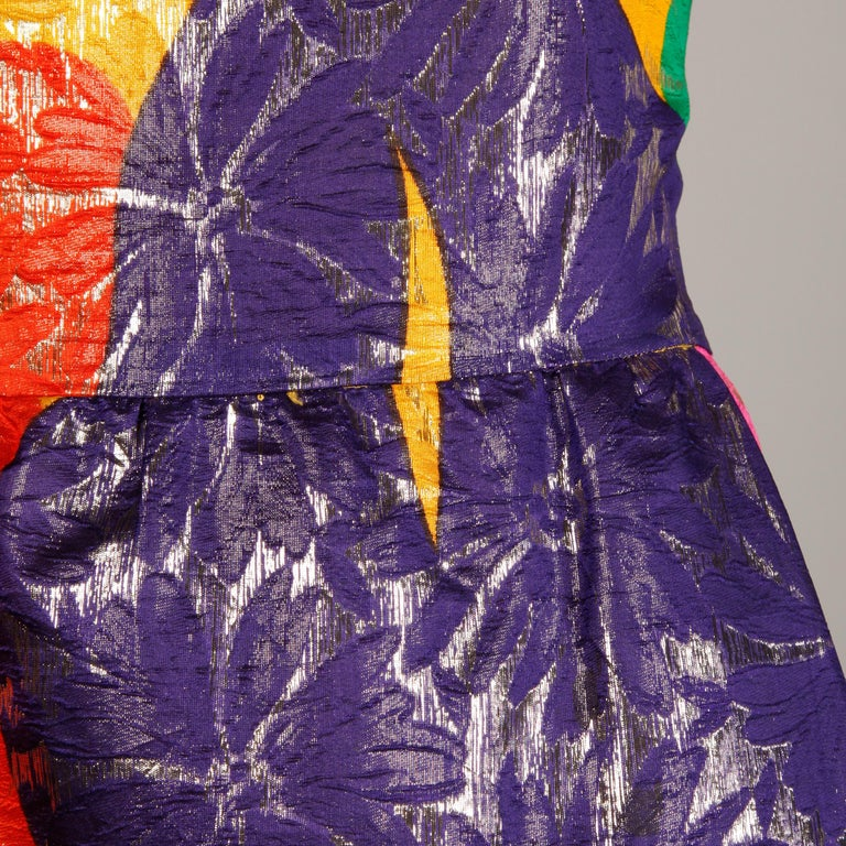 Arnold Scaasi Vintage Colorful Metallic Lamé Silk Evening Gown Dress, 1970s  For Sale 3