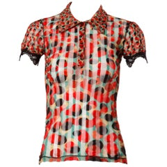 Jean Paul Gaultier Vintage Sheer Mesh Op Art Polka Dot Print Top with Lace Trim