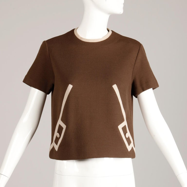 Brown 1960s Vintage Mod Two Tone Color Block 100% Wool Knit Short Sleeve Top/ Shirt For Sale