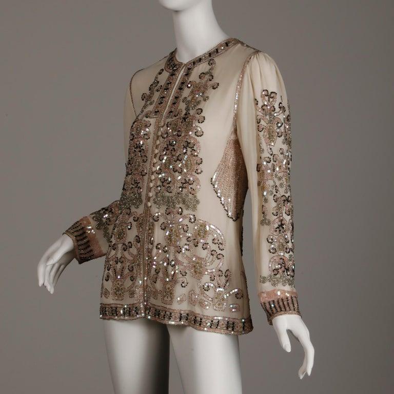 1970s Jack Bryan Vintage Blush Pink Beaded + Sequin Jacket In Excellent Condition For Sale In Sparks, NV