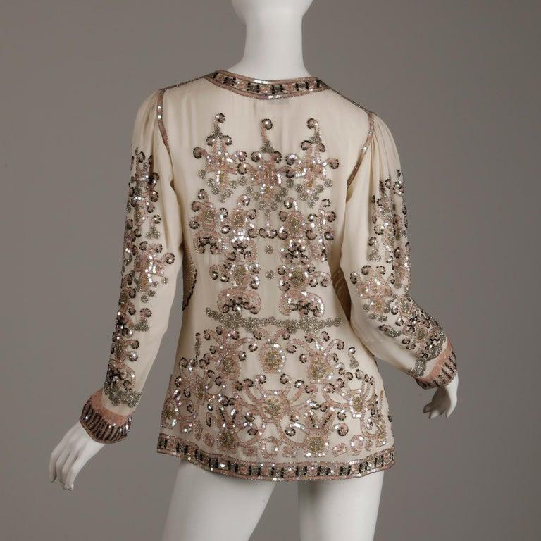 1970s Jack Bryan Vintage Blush Pink Beaded + Sequin Jacket For Sale 3