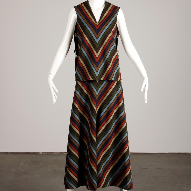 Wool Chevron Striped Metal Chain Vest Top Maxi Skirt 2-Piece Ensemble, 1970s  In Excellent Condition For Sale In Sparks, NV