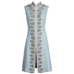 Seaton Vintage Powder Blue Embellished Silk Beaded and Rhinestone Dress, 1960s