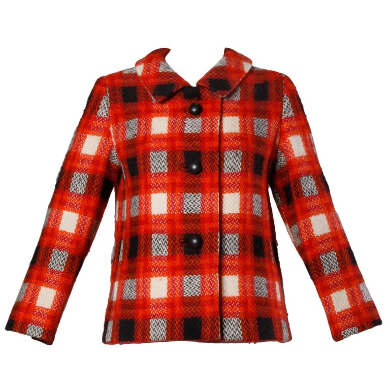 Red Donald Brooks 1960s Vintage Plaid Wool Jacket with Leather Bobble Buttons For Sale