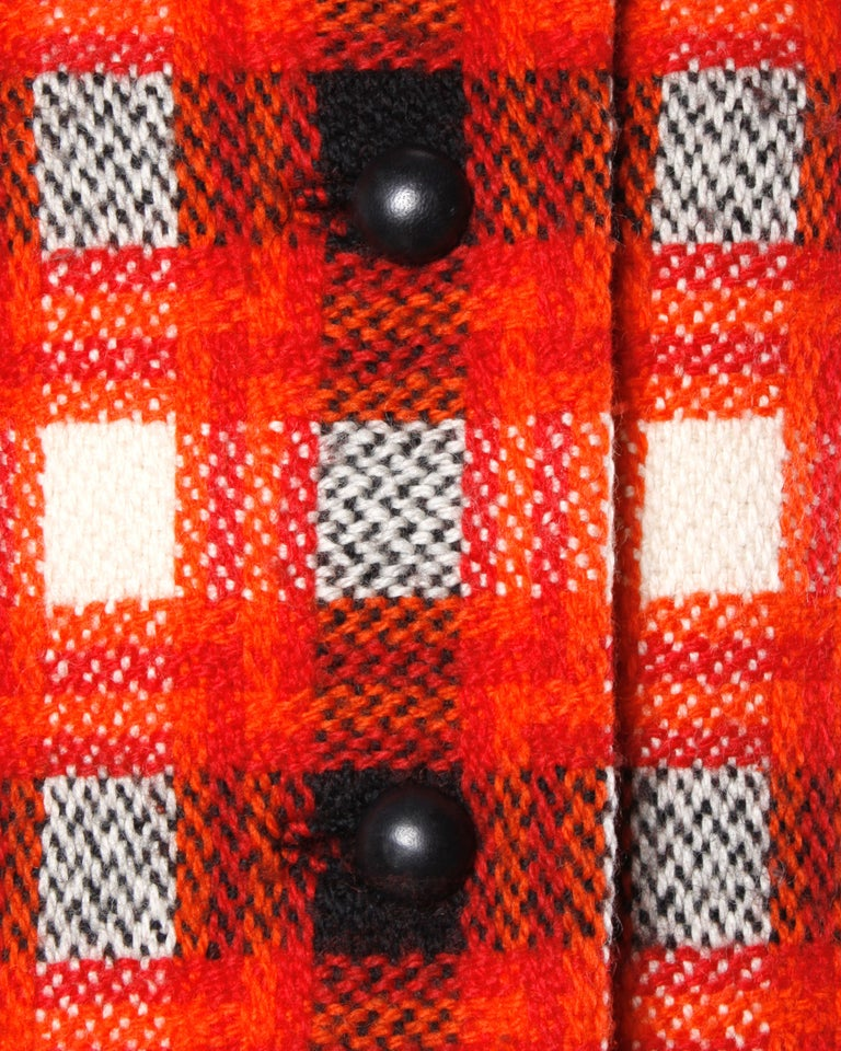 Donald Brooks 1960s Vintage Plaid Wool Jacket with Leather Bobble Buttons For Sale 1
