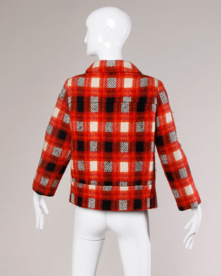 Women's Donald Brooks 1960s Vintage Plaid Wool Jacket with Leather Bobble Buttons For Sale