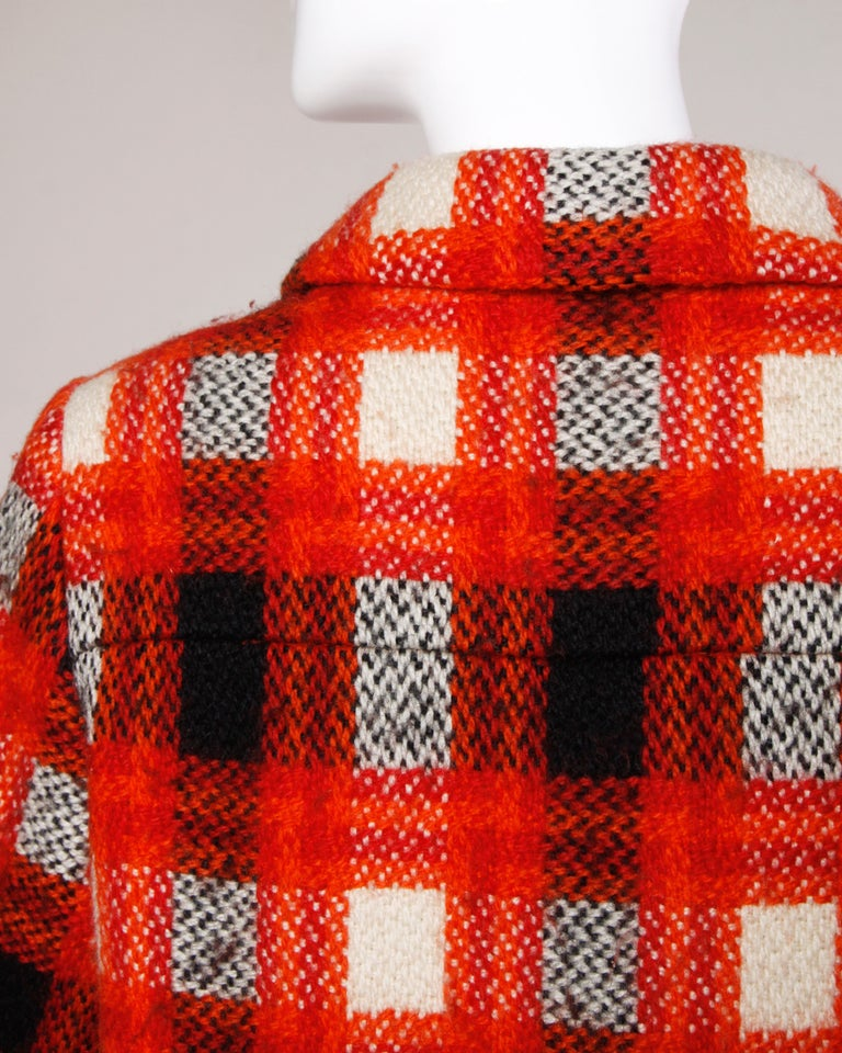 Donald Brooks 1960s Vintage Plaid Wool Jacket with Leather Bobble Buttons For Sale 2