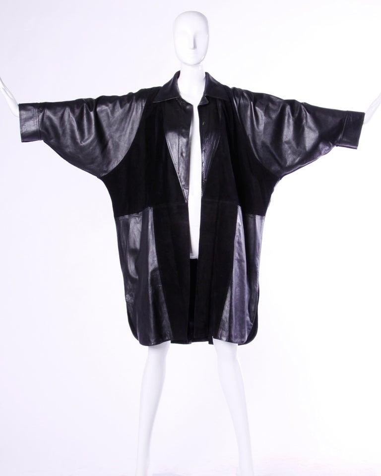 Jean Claude Jitrois Vintage 1980s Black Leather Avant Garde Coat For Sale 2