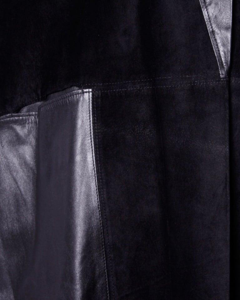 Jean Claude Jitrois Vintage 1980s Black Leather Avant Garde Coat For Sale 3
