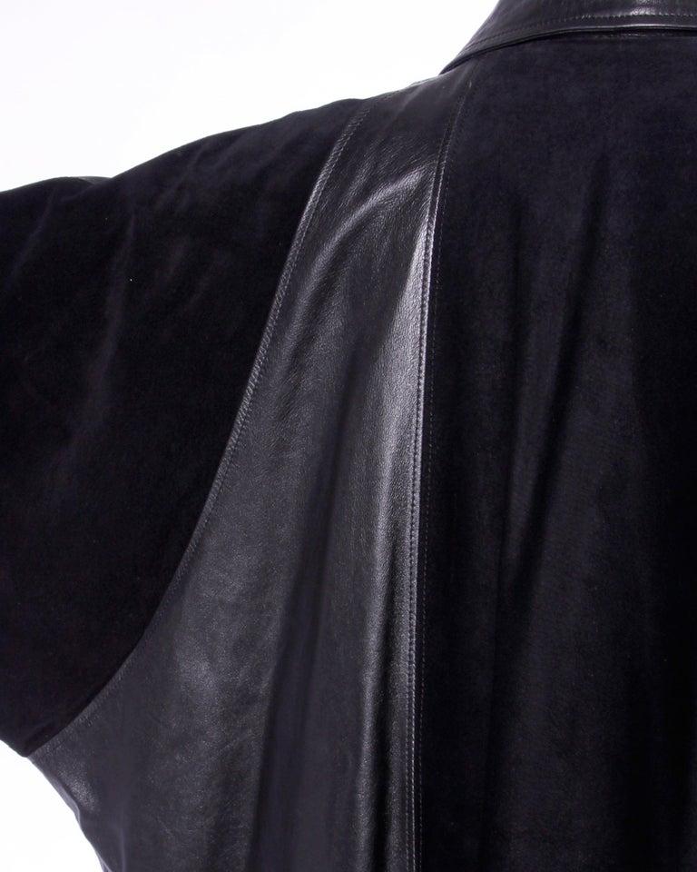 Jean Claude Jitrois Vintage 1980s Black Leather Avant Garde Coat For Sale 1