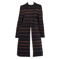 1960s Mam'selle Vintage Wool Black + Brown Striped Knit Mod Coat