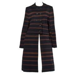 1960s Mam'selle Vintage Wool Black + Brown Striped Knit Mod Coat