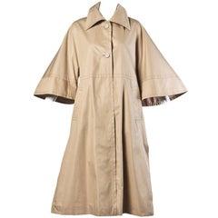 1970s Ted Lapidus Vintage Khaki Rain Coat with Cape Sleeves