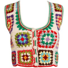 1970s Adolfo Vintage Wool Granny Squares Hand Crochet Sweater Vest or Top