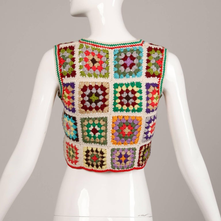 1970s Adolfo Vintage Wool Granny Squares Hand Crochet Sweater Vest