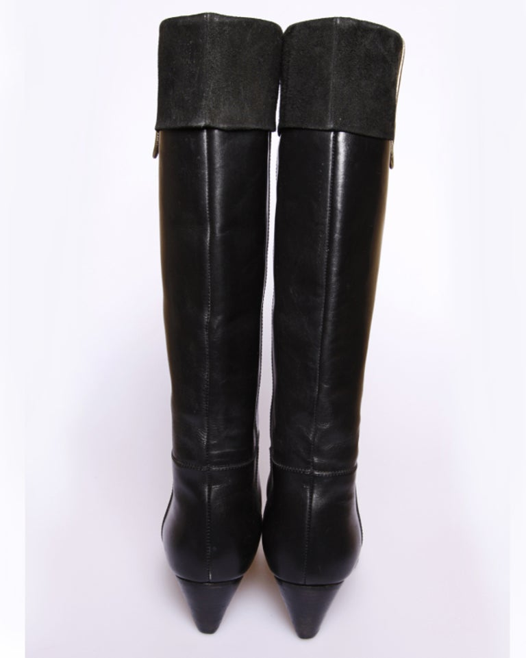 Women's Vintage Christian Dior Black Leather Riding Boots Size 5 For Sale