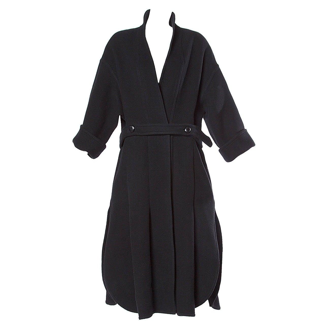 James Galanos for Neiman Marcus Unusual Black Wool/ Cashmere Vintage Coat