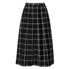 Koos Van Der Akker Vintage Black + White Plaid Wool Skirt