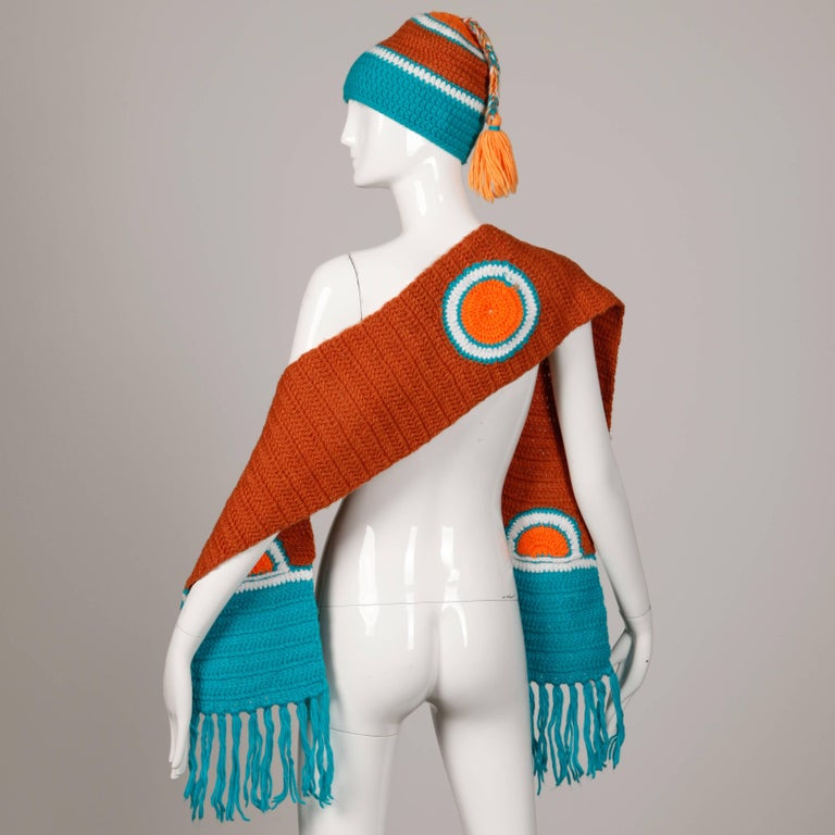 Beige Rare Unworn 1970s Giorgio Sant'Angelo Colorful Knit Sweater Hat + Scarf Ensemble For Sale