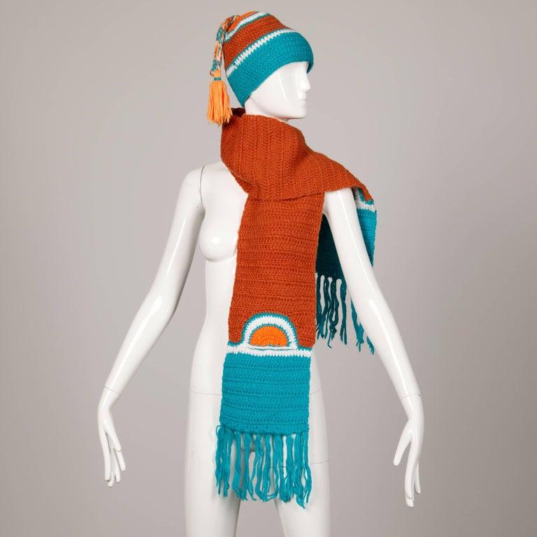 Women's Rare Unworn 1970s Giorgio Sant'Angelo Colorful Knit Sweater Hat + Scarf Ensemble For Sale