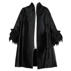 1960s Vinchi Vintage Italian Sculptural Silk + Wool Petal Swing Coat