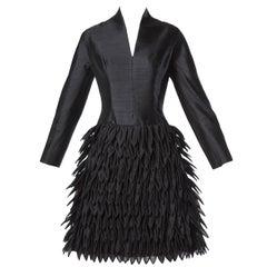 1960s Vinchi Vintage Black Sculptural Silk + Wool Organza Petal Dress