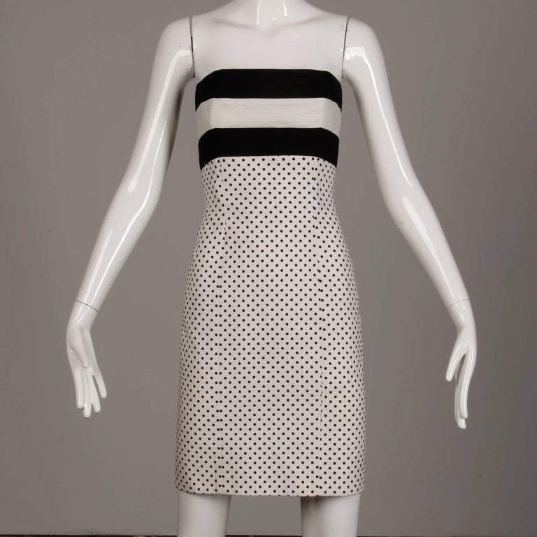 Gray 1980s Escada Vintage Black + White Polka Dot Striped Print Strapless Dress For Sale
