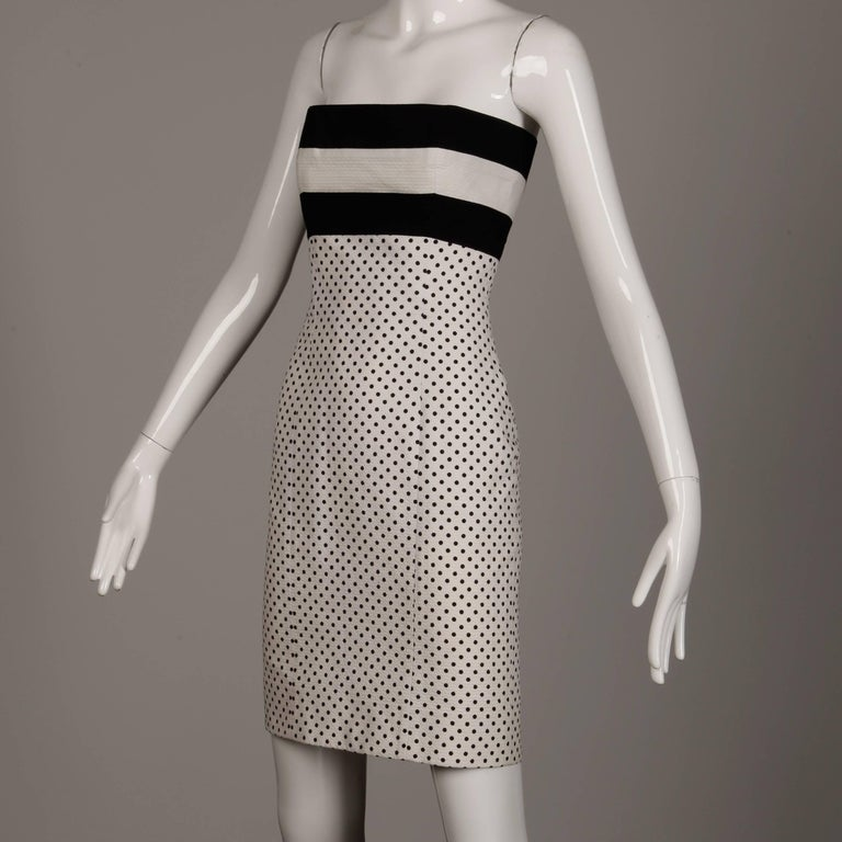 1980s Escada Vintage Black + White Polka Dot Striped Print Strapless Dress In Excellent Condition For Sale In Sparks, NV