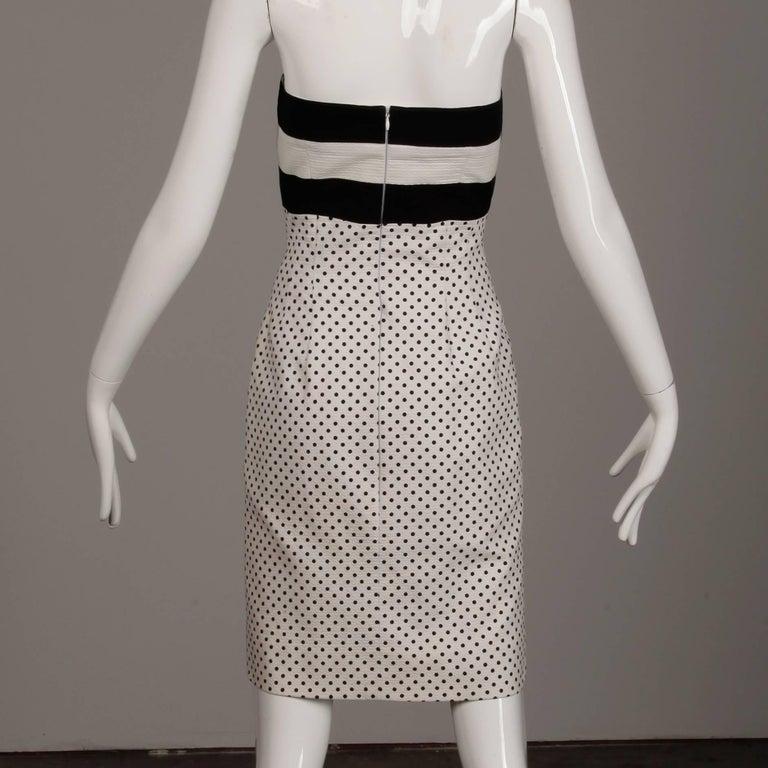 Women's 1980s Escada Vintage Black + White Polka Dot Striped Print Strapless Dress For Sale