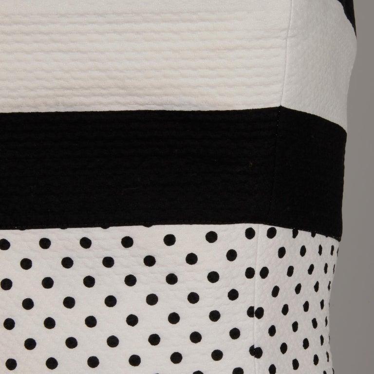 1980s Escada Vintage Black + White Polka Dot Striped Print Strapless Dress For Sale 1