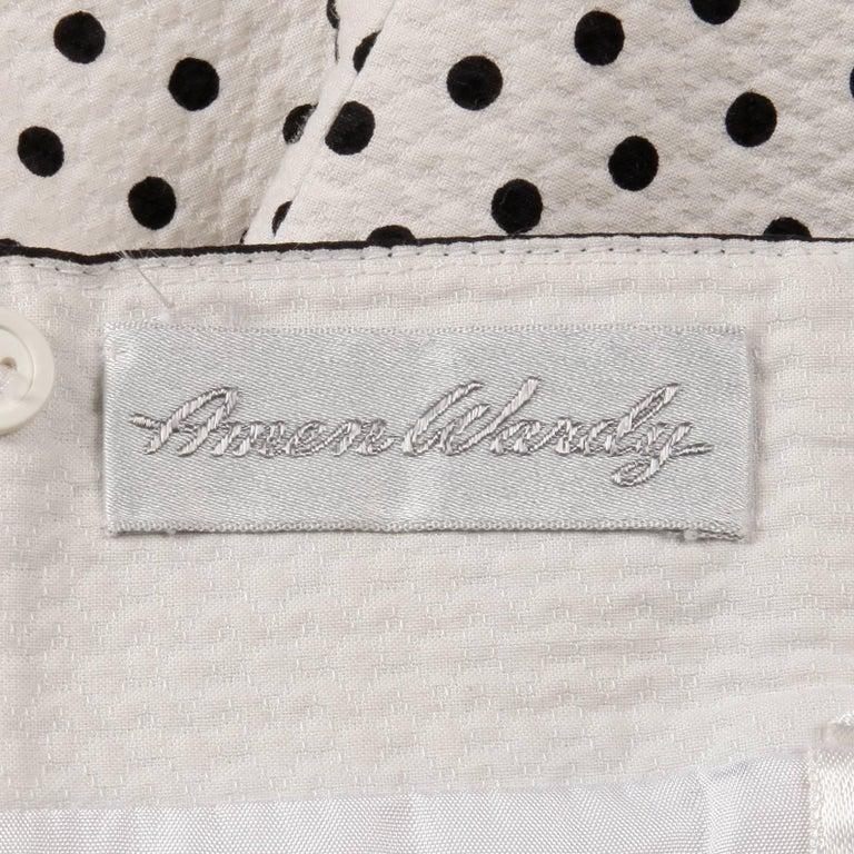 1980s Escada Vintage Black + White Polka Dot Striped Print Strapless Dress For Sale 2