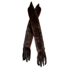 1960s Saks Fifth Avenue Vintage Mahogany Mink Fur Scarf, Fling, Stole or Wrap