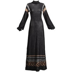 1970s Wenjilli Vintage Metallic Knit Maxi Dress