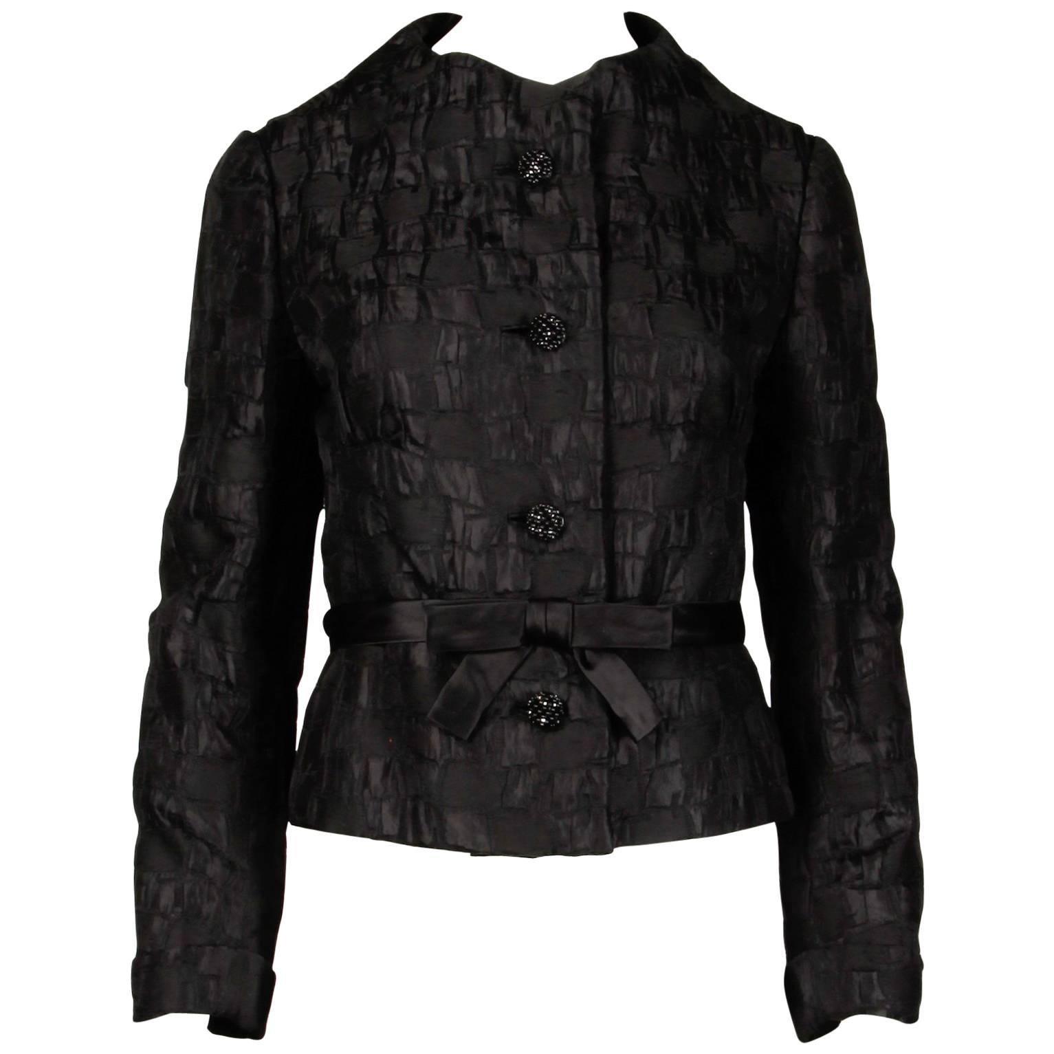 1960s Vintage Michael Novarese Black + Pink Silk Jacket with Rhinestone Buttons