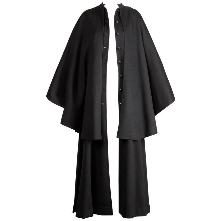 1970s YSL Yves Saint Laurent Vintage Long Black Heavy Wool Cape Coat For Sale 1