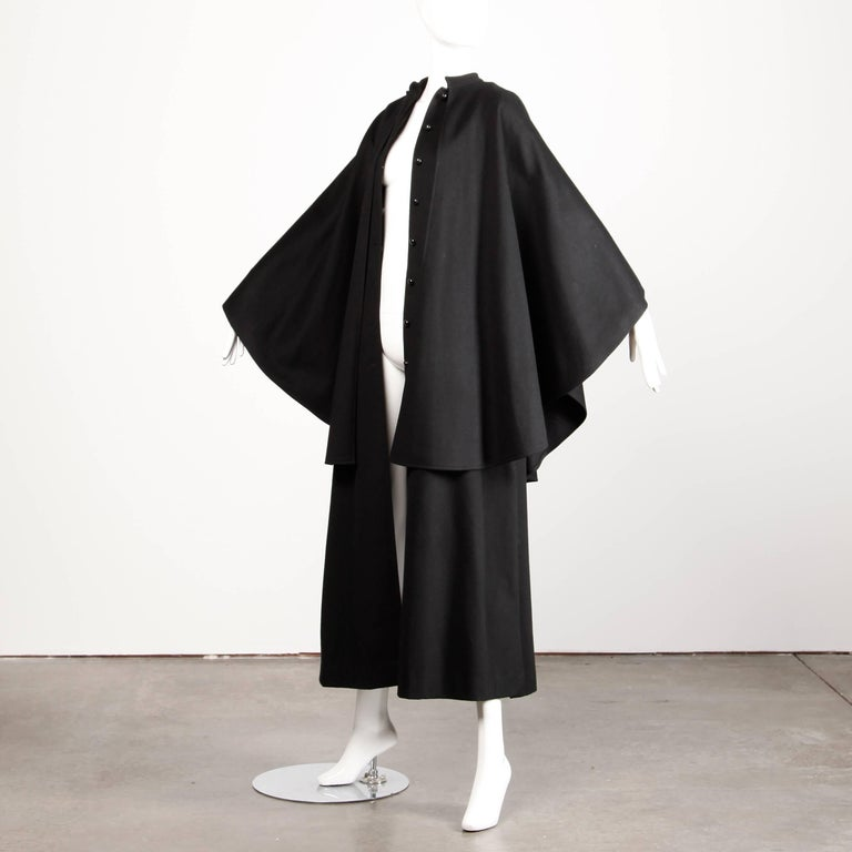 1970s YSL Yves Saint Laurent Vintage Long Black Heavy Wool Cape Coat In Excellent Condition For Sale In Sparks, NV