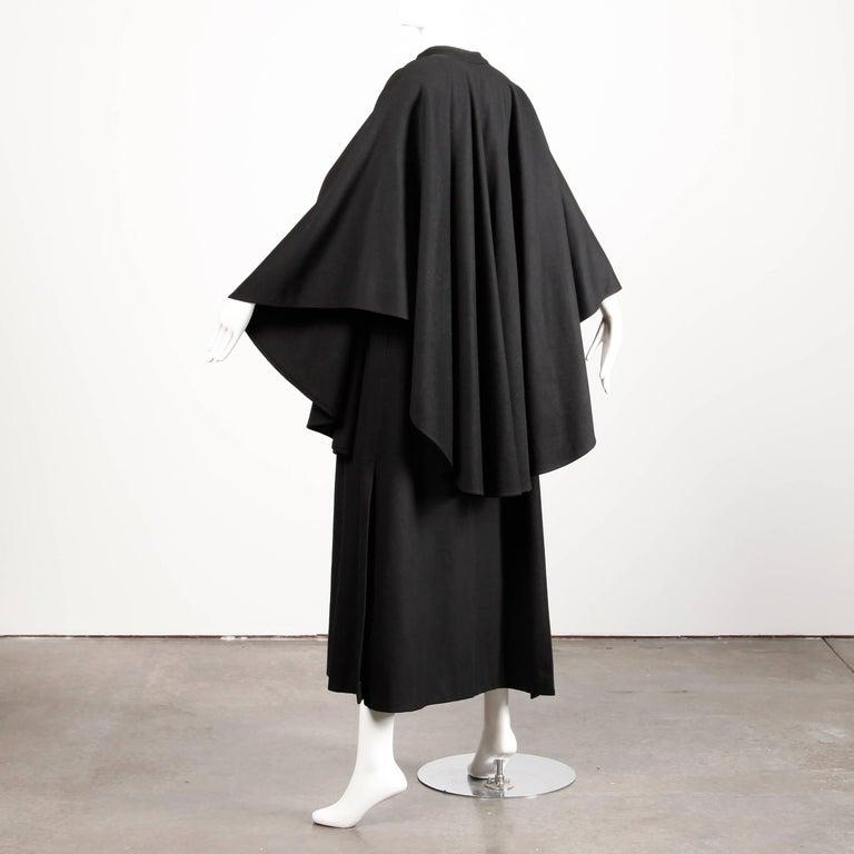 Women's 1970s YSL Yves Saint Laurent Vintage Long Black Heavy Wool Cape Coat For Sale