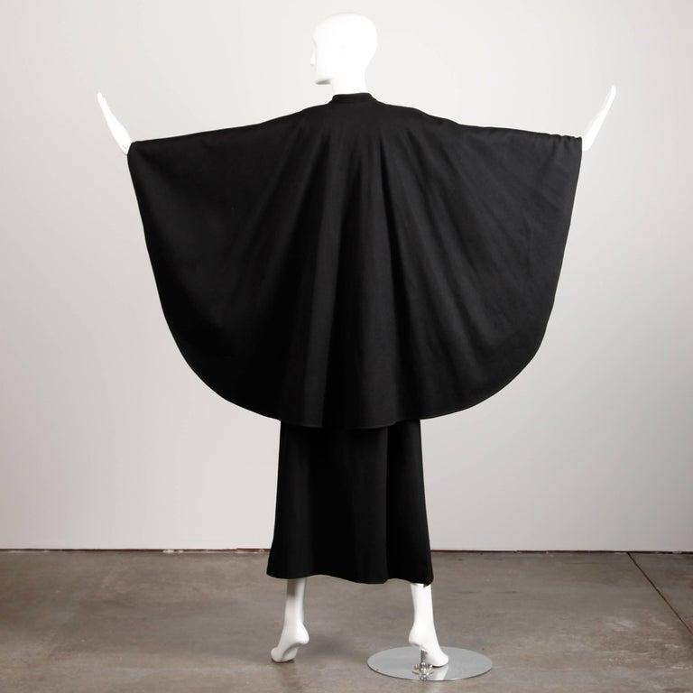 1970s YSL Yves Saint Laurent Vintage Long Black Heavy Wool Cape Coat For Sale 3