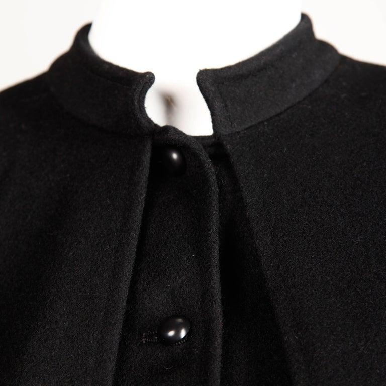 1970s YSL Yves Saint Laurent Vintage Long Black Heavy Wool Cape Coat For Sale 4