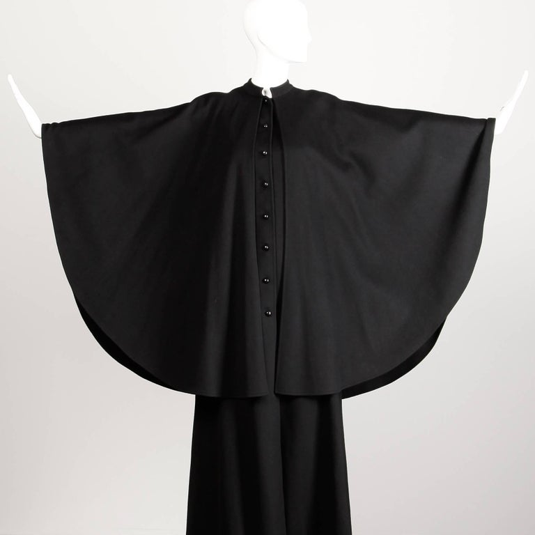 1970s YSL Yves Saint Laurent Vintage Long Black Heavy Wool Cape Coat For Sale 5
