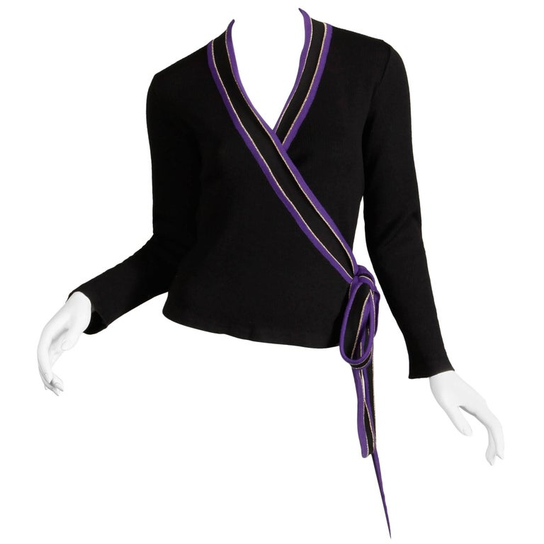 1970s Yves Saint Laurent Vintage Purple Black Gold Knit Wrap Sweater Top/ Shirt In Excellent Condition For Sale In Sparks, NV