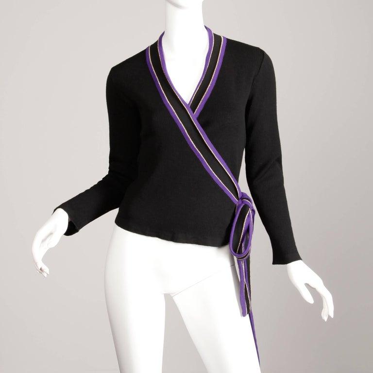 1970s Yves Saint Laurent Vintage Purple Black Gold Knit Wrap Sweater Top/ Shirt For Sale 1