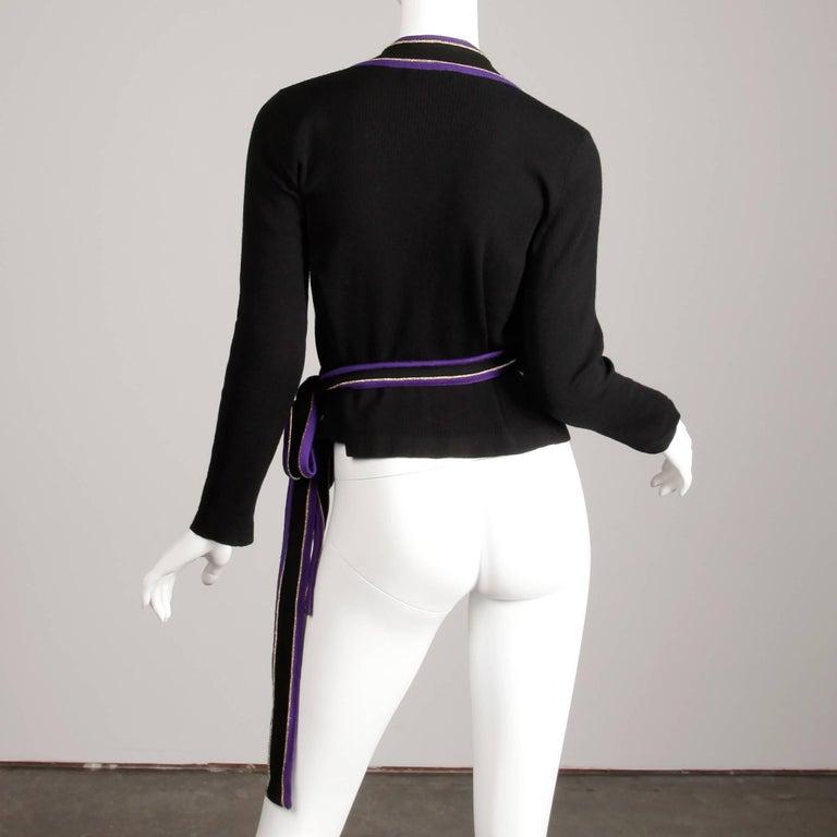 1970s Yves Saint Laurent Vintage Purple Black Gold Knit Wrap Sweater Top/ Shirt For Sale 2